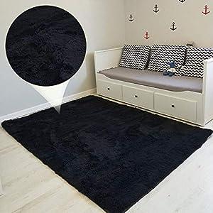 Amazinggirl alfombras Salon Grandes - Pelo Largo Alfombra habitación Dormitorio Lavables Comedor Moderna vivero Negro 160 x 230 cm