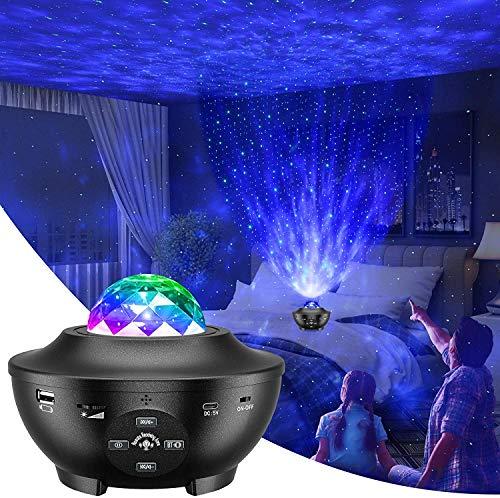 Sternenhimmel Projektor,Slols LED Starry Projektor Light Galaxy mit 3 Farbwechsel/Rotierende Ozeanwellen/Bluetooth Musikspieler/Fernbedienung für Kinder Erwachsene Zimmer/Party/Spielzimmer/Heimkino