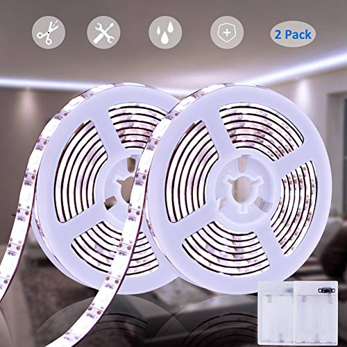 Battery Powered Led Strip Lights Dmeixs White Strip Lights Waterproof 6.56ft Led Battery Strip Flexible Sticky Led Strip Lights Kit for Bedroom Indoor Outdoor Led Lights 2 Pack