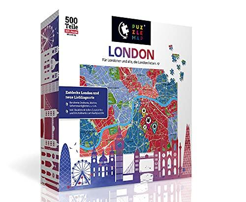 PuzzleMap Puzzle de mapa urbano de Londres, XXL, 500 piezas, con folleto y tarjeta plegable, tamaño de 68 x 46 cm, guía de viaje, regalo souvenir