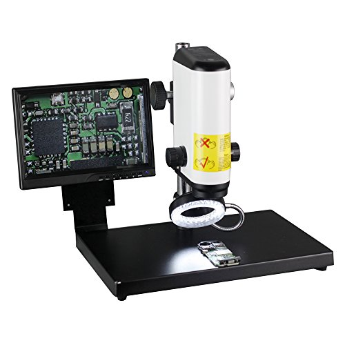 New 2.0MP HD Digital Industry Video Microscope Camera VGA Video Output with 10-Inch HD Screen & Table Stand & 60 LED Light for Industrial Component Repair Electronics Manufacturing Textile