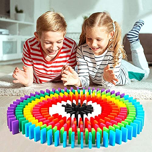 LADWA® 60 Pcs Super Dominos Blocks, 12 Color Bulk Wooden Dominos Blocks Set, Kids Game Educational Play Toy, Domino Racing Toy Game (12 Colors, 5 Dominos Blocks Each Color)
