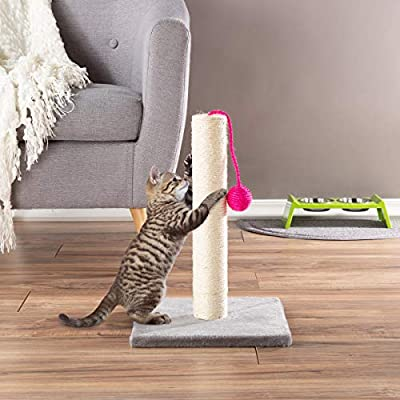 PETMAKER Cat Scratching Post – Scratcher for Cats and Kittens with Sisal Rope and Square Base, Hanging Toy Ball for Interactive Play (17 Inch)