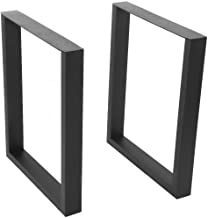 Zoternen Set of 2 Heavy Duty Steel Square Tube Table Legs, Dining Table Legs, DIY Bench Legs, Anti-Rust Furniture Legs with Frosted Black Finish for Home Furniture(40X43CM)