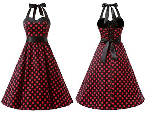 Dresstells DRESSTELLS Neckholder Rockabilly 1950er Polka Dots Punkte Vintage Retro Cocktailkleid Petticoat Faltenrock Black Red Dot S
