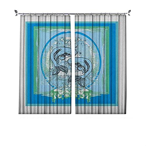 Cortina japonesa de oscurecimiento de habitación, diseño de peces Koi del sur de estilo animal boho zen, cortina de dormitorio, panel de sala de estar, 122 cm de ancho x 63 cm de largo, verde jade