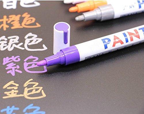 Enzhe Praktisch briefpapier voor studenten Whiteboard Marker, Zwart Karton met Bullet Tip Fijne Permanente Marker (Purple)