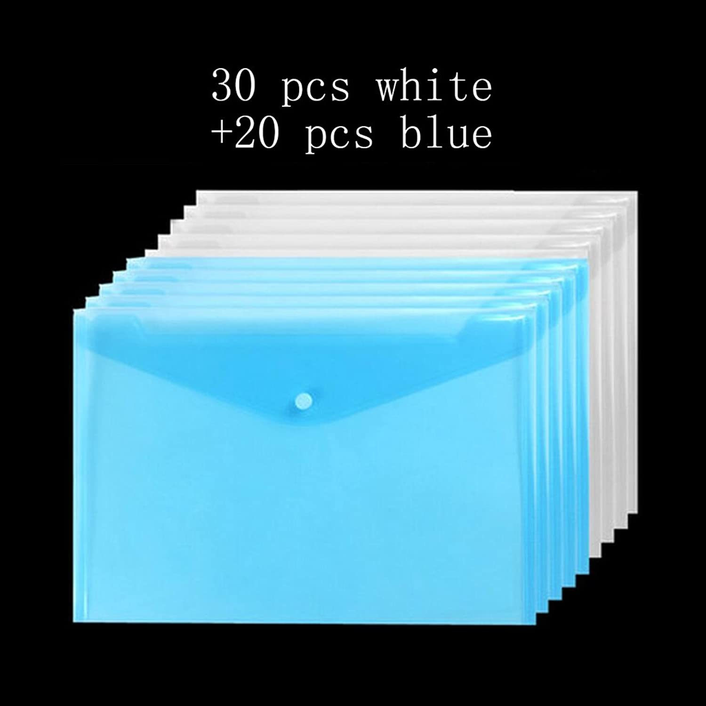Liu Yu·Büro Raum, Schreibwaren Bürobedarf PPA4 Datei Tasche Wölbung Information Tasche 30 Stück weiß und 20 Stück blau B06XR7298X | Verschiedene Stile und Stile