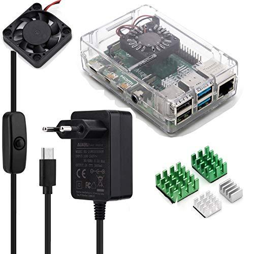 Aukru Case para Raspberry Pi 4, Caja Transparente con Ventilador y 4X Disipador, 5V 3A USB-C Cargador con Interruptor para Raspberry pi 4 Modelo B