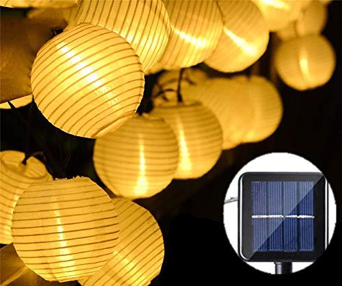ZYYBRE Lampe Boule De Lanterne, LumièRe 5m 20 LED, Tissu De Nylon,ExtéRieur, 8 Modes ImperméAbles, Lanternes Solaires Chinoises, Convient pour Les Familles, Les Jardins, Les Arbres De NoëL,Warm