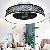 DLLT Remote Ceiling Fan with Led Light, 40W Modern Dimmable...