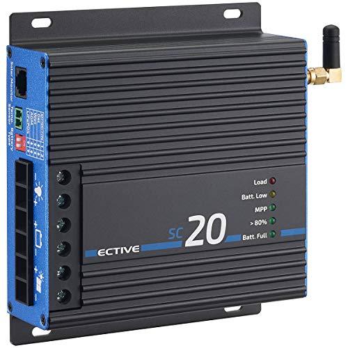 ECTIVE 20A 240Wp/480Wp MPPT Solar-Laderegler für 12V/24V Versorgungsbatterien SC 20 BT mit APP und Bluetooth-Funktion in 4 Varianten