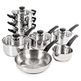 Morphy Richards Equip Induction Pan Set, Stainless Steel, Stay Cool Handles, Thermocore Technology, 8 Piece Set