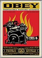ポスター オベイ Print and Destroy/Shepard Fairey 手書きサイン入り 額装品 アルミ製ハイグレードフレーム(シルバー)