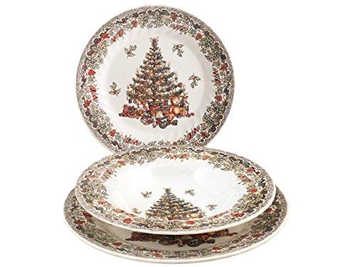 Churchill - Juego de vajilla - Línea Season Greetings - Motivos navideños - Material gres - Color Blanco Marfil - 18Unidades