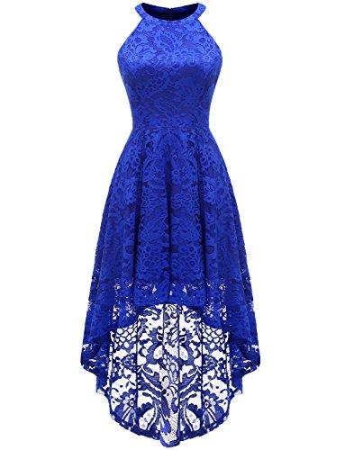 Dressystar Vokuhila Kleid Cocktail Spitzenkleid Halter Sexy Schulterfrei Ballkleid Royalblau S