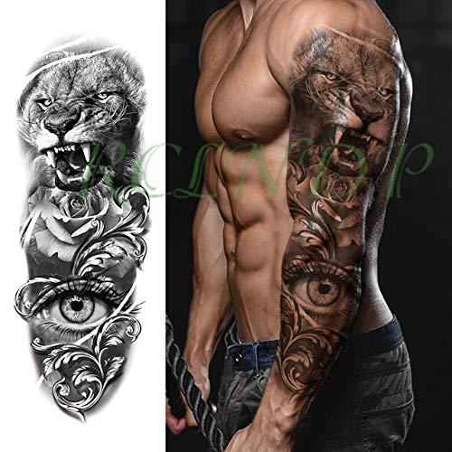 ljmljm 3 Piezas Impermeable Tatuaje Pegatina búho Flores cráneo ...