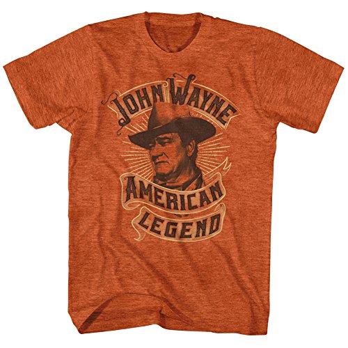 Hombre–John Wayne- American Legend Banner–Camiseta Naranja Antique Orange Heather XX-Large