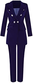 Long Sleeves Two Piece Office Jacket and Pants Lady Blazer Business Suit Set