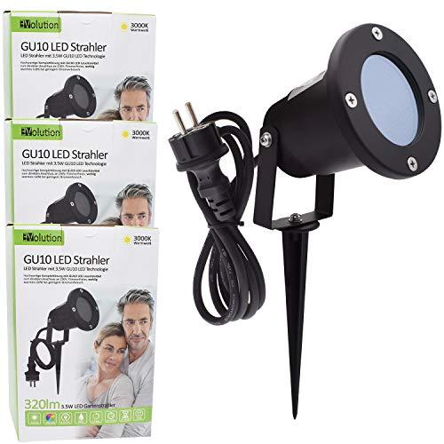 3x Evolution LED Gartenstrahler mit Erdspieß inkl. 3,5W GU10 3000K IP65 Gartenbeleuchtung Wegbeleuchtung Außenleuchte Gartenlampe Gartenleuchte warmweiß Spritzwasser geschützt mit Anschlußkabel