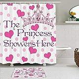 AYISTELU Duschvorhang Sets mit rutschfesten Teppichen,Lustige Zitate Mädchen Geburtstag Die Prinzessin duscht Hier Herzen & Diamond Pearl Crown, Badematte + Duschvorhang mit 12 Haken