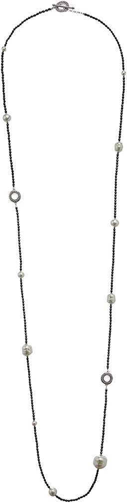 Majorica - Baroque Pearls on Hematite Station Necklace