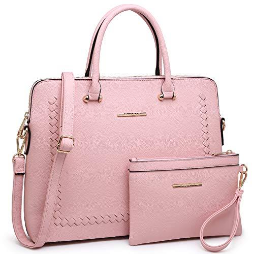 Dasein Women's Handbag Large Shoulder Bag Tote Satchel Purse Top Handle Bag (01-bag wallet set-pink)