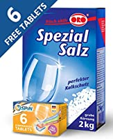 Dishwasher Detergent Salt, 2Kg Plus FREE 6 SPIN Dishwasher Tablets, MADE IN GERMANY