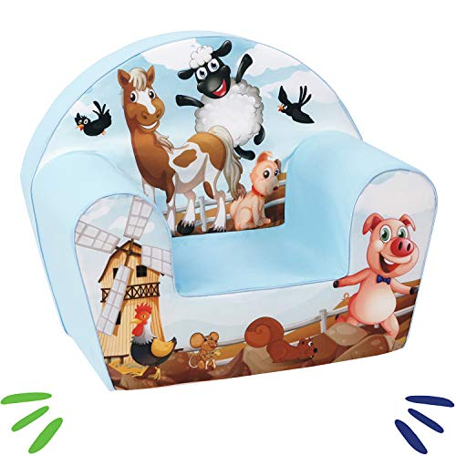 DELSIT Kindersessel Babysessel Kinder Sessel Baby Sitz Kindermöbel für Jungen und Mädchen BAUERNHOF Blau