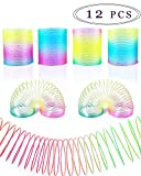 WTSHOP 12 Pack Colorful Neon Plastic Spring Circles,Classic Novelty Colorful Rainbow Neon Plastic Spring Toy for Birthday Party Favors,Bag Fillers,Gift
