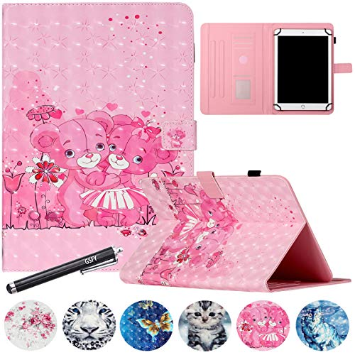 7 inch Universal Tablet Case, GSFY Wallet Stand Cover with Card Slots for Samsung Galaxy 7.0 Tablet/Kindle Fire 7/Huawei/Lenovo Other 7.0 inch Models - 3D Pink Dancing Bears