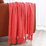 NordECO 100% Cotton Throw Blanket with Tassels, Breathable Washable Lightweight and Soft Throws for Daily Use, Coral Red, 50'x 60'