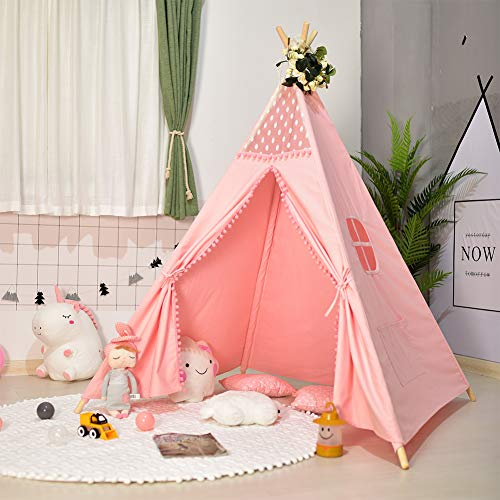 Triclicks Kids Teepee Play Tent - Indian Wigwam Children Tipi Play House - 100% Cotton Canvas Princess Girls Tent for Indoor and Outdoor (Pink Style B)
