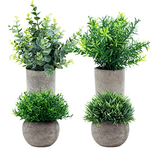 GreenCallow Artificial Mini Potted Plants (Set of 4) Faux Fake Plastic Green Rosemary Topiary Shrubs with Gray Pot for Home Office Desk Shower Décor