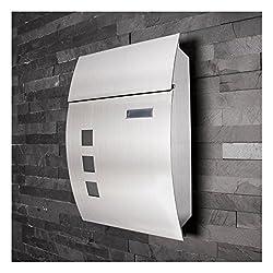 Edelstahl Briefkasten • Bullminger 4entry 2.1 Design • Sichtfenster • rostfrei • Namenschild • Format DIN A4 / C4 • Befestigungsmaterial • Für innen und außen • Wetterfest •