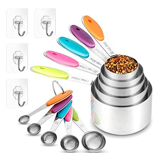 Juego de tazas y cucharas medidoras,5 Tazas Medidoras y 5 Cucharas Medidoras,acero inoxidable tazas y cucharas medidoras con regla de medición