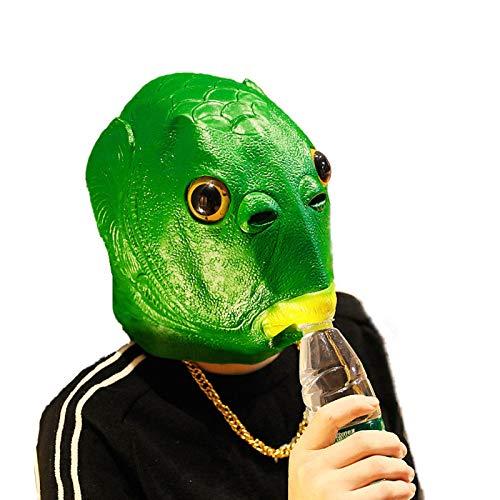 LEZED Grüne Murloc-Maske Grüne Fischkopfbedeckung Fischmaske Tierfisch-Kopfbedeckung Tierkopfbedeckung Monster Kopfbedeckung für Karneval Party Kopf Kopfbedeckung Party lustige Dekoration