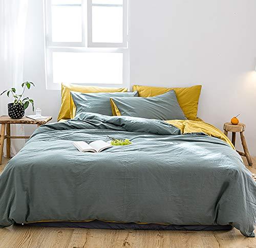 GETIYA Romantisch Bettwäsche 220x240cm Grün Bettwäsche Baumwolle Damen Herren Deckenbezug Renforce Bettwaesche Gelb Grün Wendebettwäsche mit Reißverschluss und 2 Kissenbezüge 80x80cm