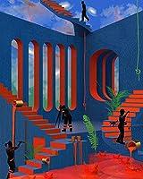 番号によるDiyの絵画番号による絵画アクリル絵の具手作りのペイントシュルレアリスムアート絵画忙しい人々が家の装飾を番号で着色