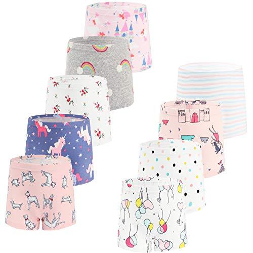 JackLoveBriefs Mädchen Unterhosen Boxershorts Baumwolle (Unterhosen für mädchen 2-10 Jahre,9 Stücke) Rosa.Größe:150