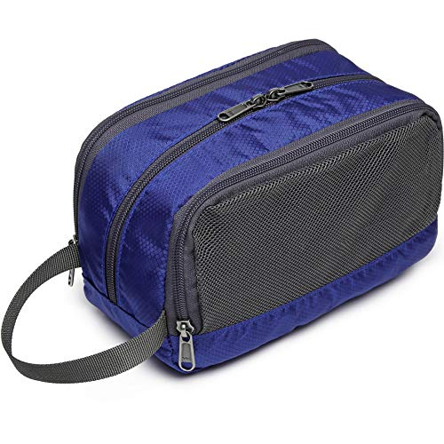 Toiletry Bag, Veckle Dopp Kit Shaving Bag for Men Nylon Travel Toiletry Organizer Shower Wash Bag for Women with Hanging Strap Navy Blue