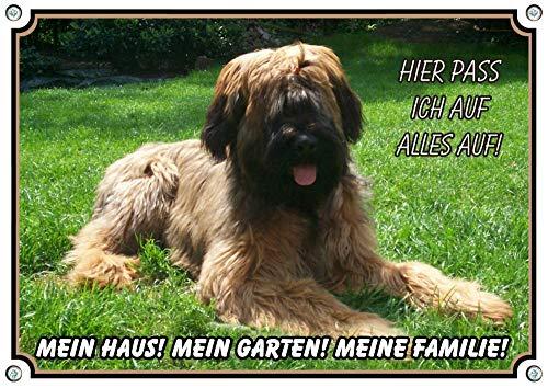 Petsigns Hundeschild Briard - Berger de Brie - wetterbeständgies Warnschild aus Metall, DIN A4