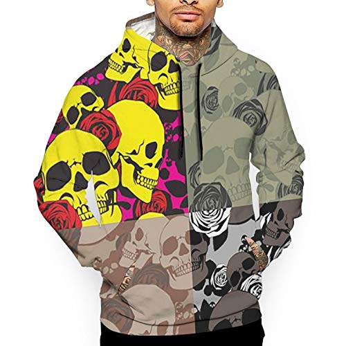 YUYUYU American Military Army Camouflage Pattern Roses Skull Men's Outdoor Hooded Sweatshirt Thermal Winterwear Pullover