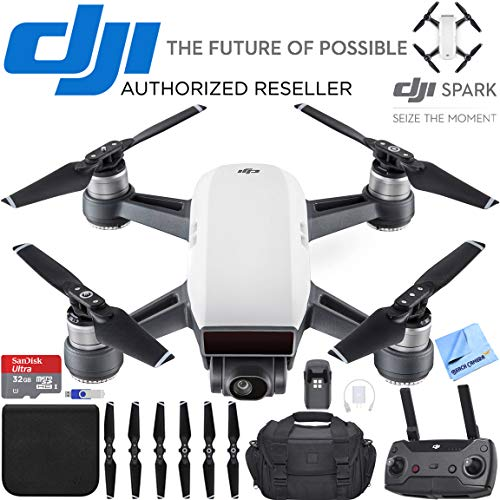 DJI Spark Alpine White Quadcopter Drone 32GB Essentials Bundle