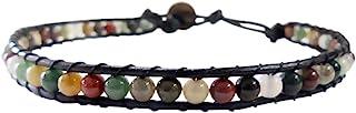دستبند مچ پا Infinity Anklet Jasper Stone 10 اینچ با بند ناف چرم بافته شده زیبا Hippie Bohemian Unisex به سبک هدیه برای مردان ، زنان ، نوجوانان