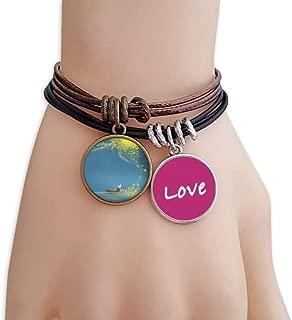 Silent Night Light Boat Fairy Fuying Painting Love Bracelet Leather Rope Wristband Couple Set
