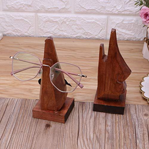 LessLIFE Soporte de exhibición de gafas, Nariz De Madera En Forma De Gafas Titular De La Nariz De Madera Gafas De Sol De Gafas De Sol De La