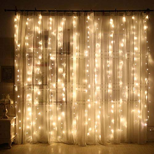 100 LED Waterproof Curtain Light 3mX1m,Fairy String Lights with Timer 8 Modes, USB Window Curtain String Light with Remote Control for Bedroom Indoor Outdoor Wedding Party Garden Decoration Warm White