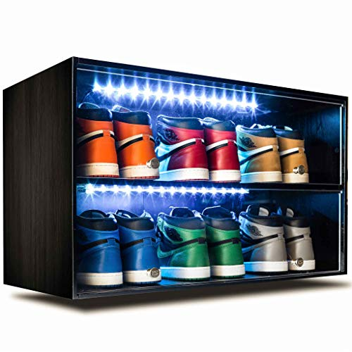 Sneaker Throne Shoe Rack with Lights for Up to 6 Pairs of Shoes, Black - Sleek Wood Shoe Shelf with Sliding Doors for Bedrooms, Outdoors, Garages - Premium Shoe Organizers and Storage for Closets