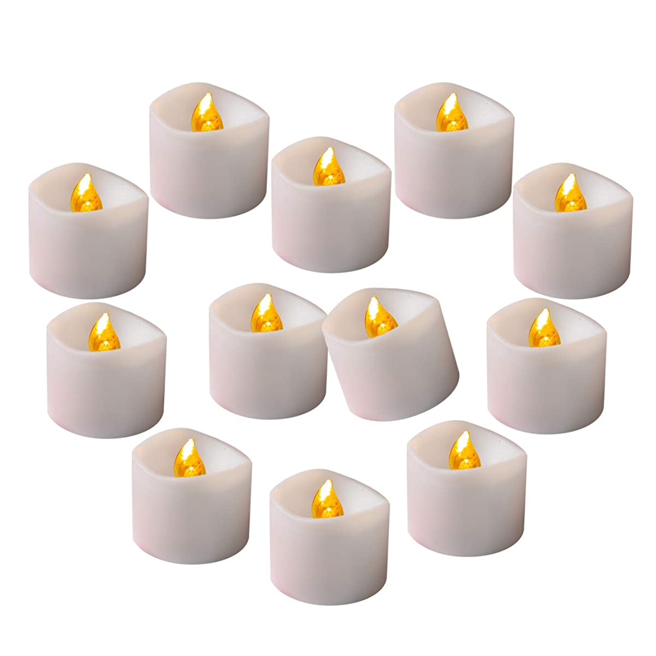 Cozeyat Flameless LED Tea Lights with Timer (6 Hours on, 18 Hours Off) Flickering Candles Amber Yellow 24pcs for Wedding Reception, Christmas Party, Window, Fireplace, Lantern, Craft Project